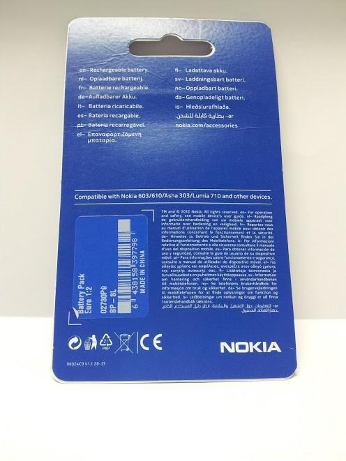 Batería Nokia BP-3L, LUMIA 710 y 610, ASHA 303 y 603